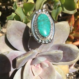 Silver Oval Blue Green Turquoise Ring Size 10